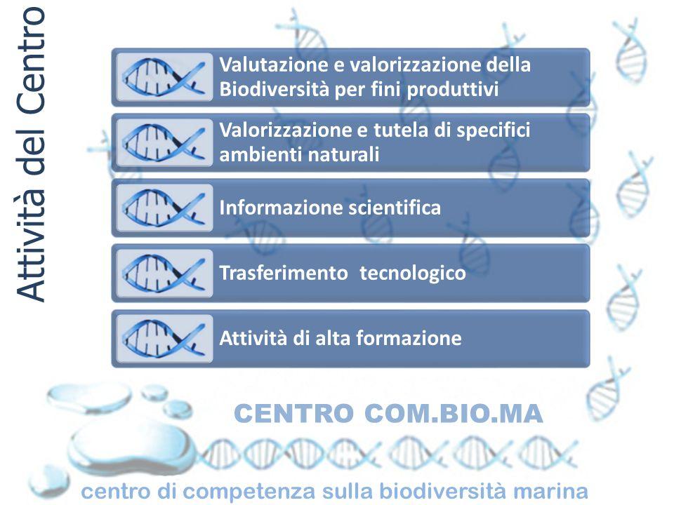 centro di competenza sulla biodiversità marina CENTRO COM.BIO.MA Settori Ecologia marina Ecologia delle attività antropiche Genetica di popolazione Biologia della riproduzione