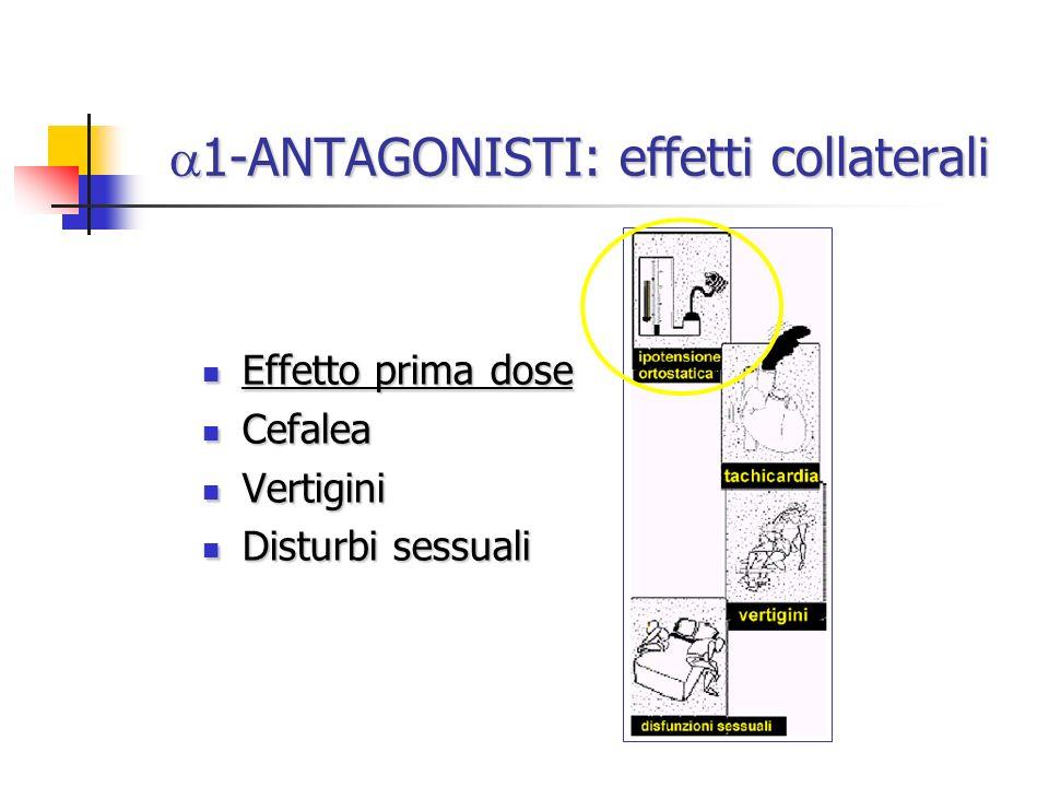 1-ANTAGONISTI: effetti collaterali 1-ANTAGONISTI: effetti collaterali Effetto prima dose Effetto prima dose Cefalea Cefalea Vertigini Vertigini Distur