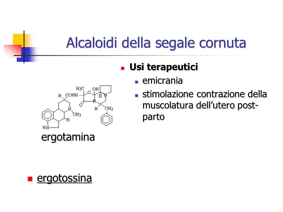 Alcaloidi della segale cornuta Usi terapeutici Usi terapeutici emicrania emicrania stimolazione contrazione della muscolatura dellutero post- parto st