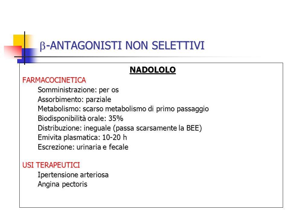 -ANTAGONISTI NON SELETTIVI -ANTAGONISTI NON SELETTIVI NADOLOLO NADOLOLOFARMACOCINETICA Somministrazione: per os Assorbimento: parziale Metabolismo: sc