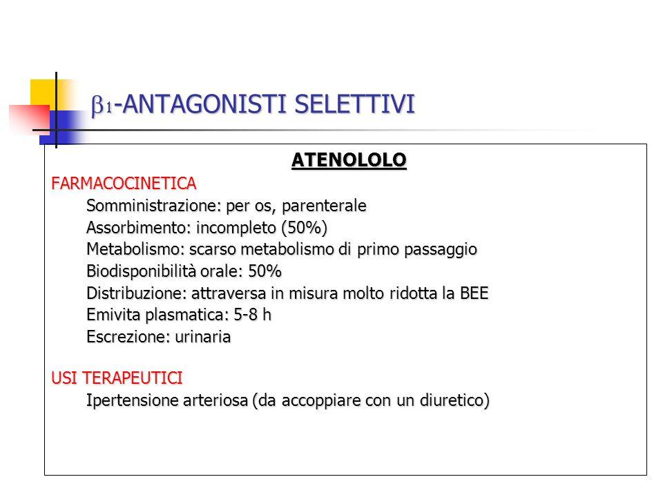 -ANTAGONISTI SELETTIVI -ANTAGONISTI SELETTIVI ATENOLOLO ATENOLOLOFARMACOCINETICA Somministrazione: per os, parenterale Assorbimento: incompleto (50%)