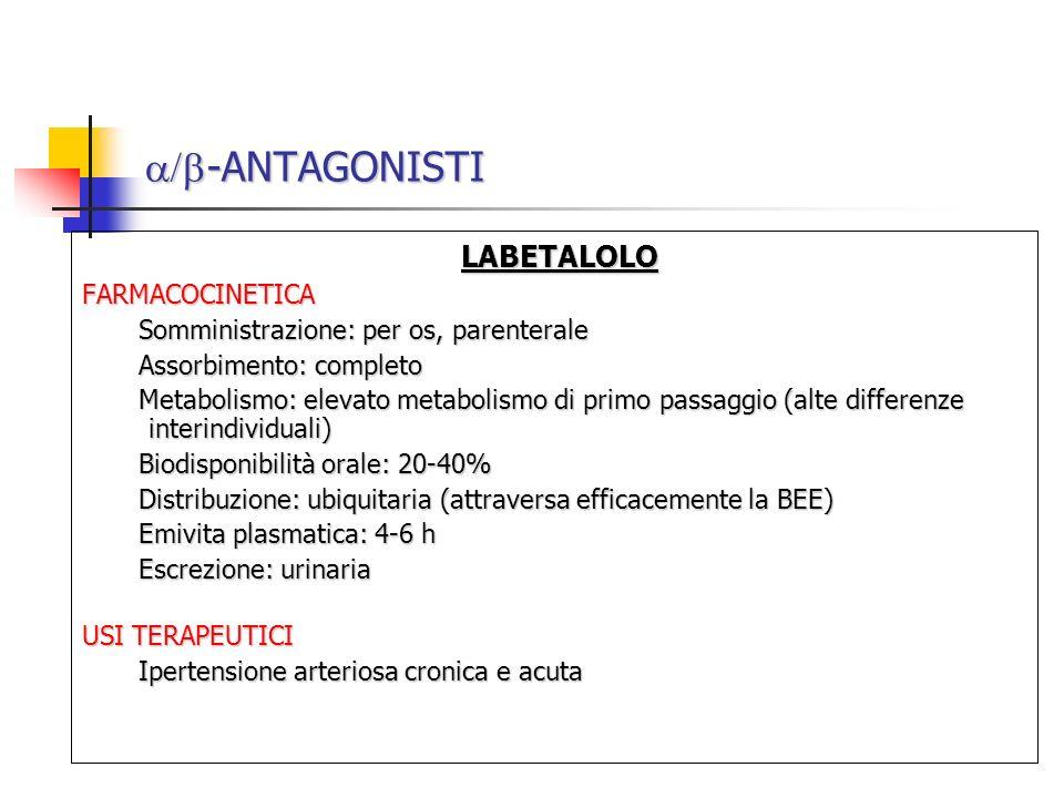 -ANTAGONISTI -ANTAGONISTI LABETALOLO LABETALOLOFARMACOCINETICA Somministrazione: per os, parenterale Assorbimento: completo Metabolismo: elevato metab