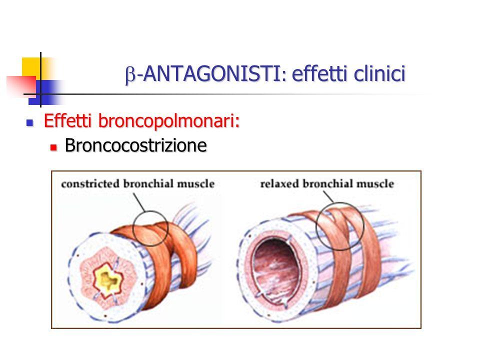 - ANTAGONISTI : effetti clinici - ANTAGONISTI : effetti clinici Effetti broncopolmonari: Effetti broncopolmonari: Broncocostrizione Broncocostrizione