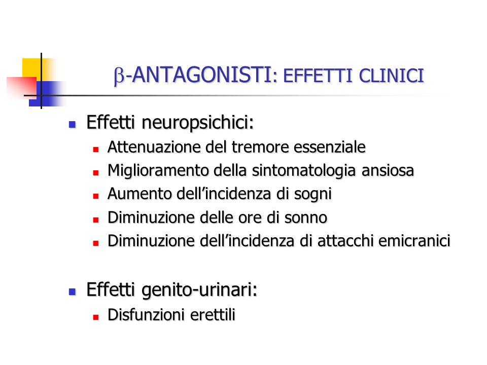 - ANTAGONISTI : EFFETTI CLINICI - ANTAGONISTI : EFFETTI CLINICI Effetti neuropsichici: Effetti neuropsichici: Attenuazione del tremore essenziale Atte