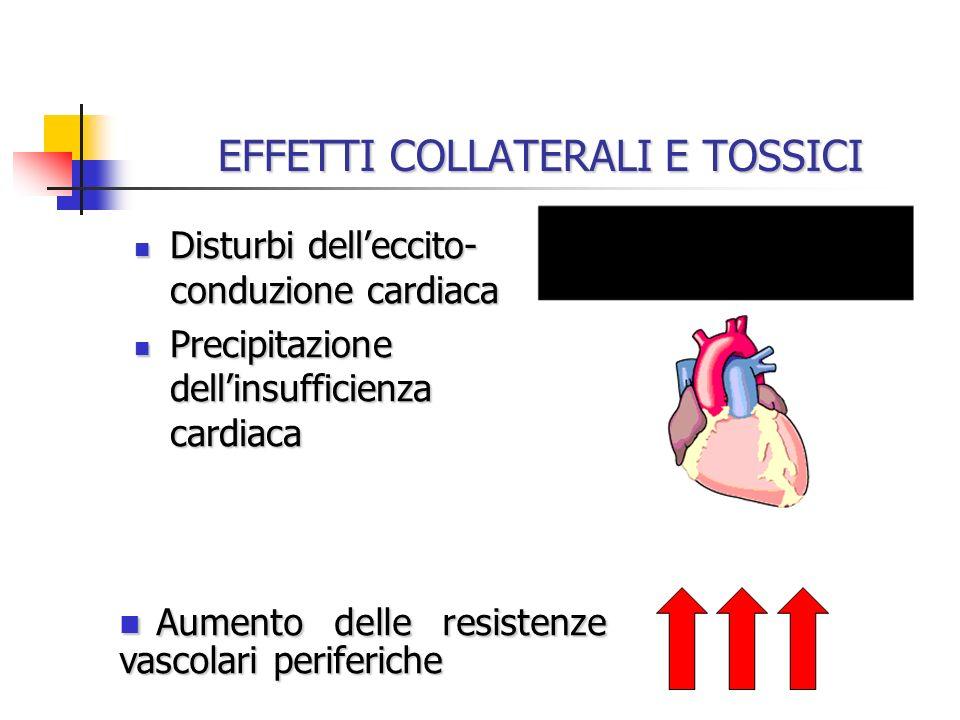 EFFETTI COLLATERALI E TOSSICI Disturbi delleccito- conduzione cardiaca Disturbi delleccito- conduzione cardiaca Precipitazione dellinsufficienza cardi