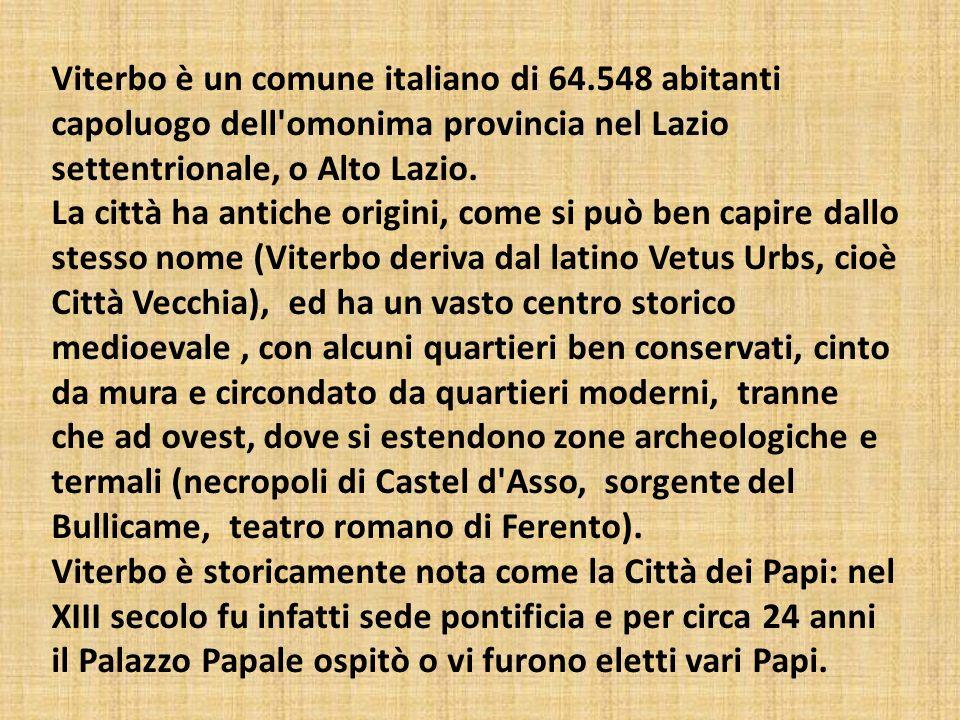 Viterbo è un comune italiano di 64.548 abitanti capoluogo dell'omonima provincia nel Lazio settentrionale, o Alto Lazio. La città ha antiche origini,