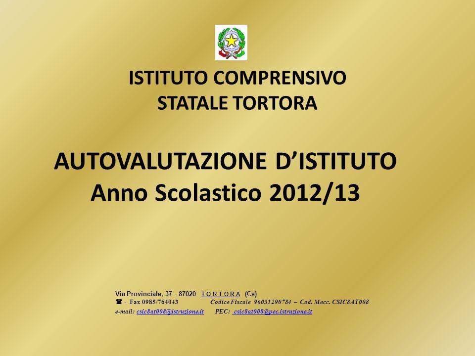AUTOVALUTAZIONE DISTITUTO Anno Scolastico 2012/13 ISTITUTO COMPRENSIVO STATALE TORTORA Via Provinciale, 37 - 87020 T O R T O R A (Cs) - Fax 0985/76404