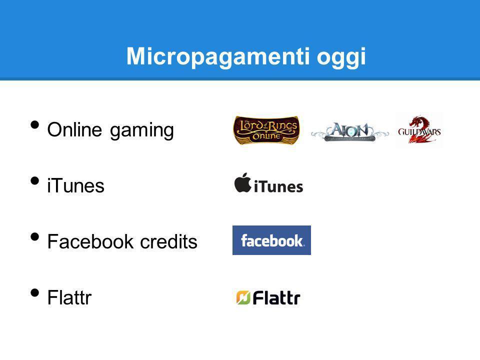 Micropagamenti oggi Online gaming iTunes Facebook credits Flattr