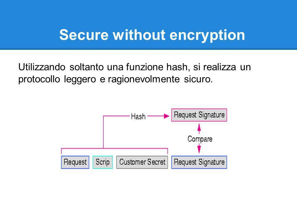Secure without encryption Utilizzando soltanto una funzione hash, si realizza un protocollo leggero e ragionevolmente sicuro.