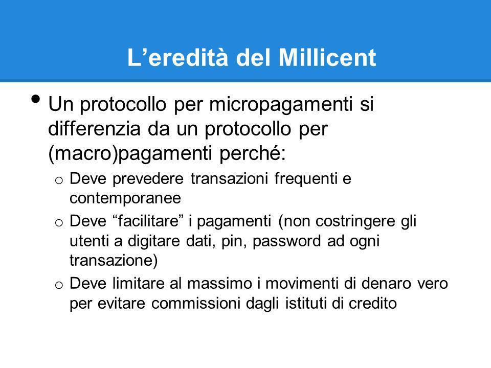 Leredità del Millicent Un protocollo per micropagamenti si differenzia da un protocollo per (macro)pagamenti perché: o Deve prevedere transazioni freq