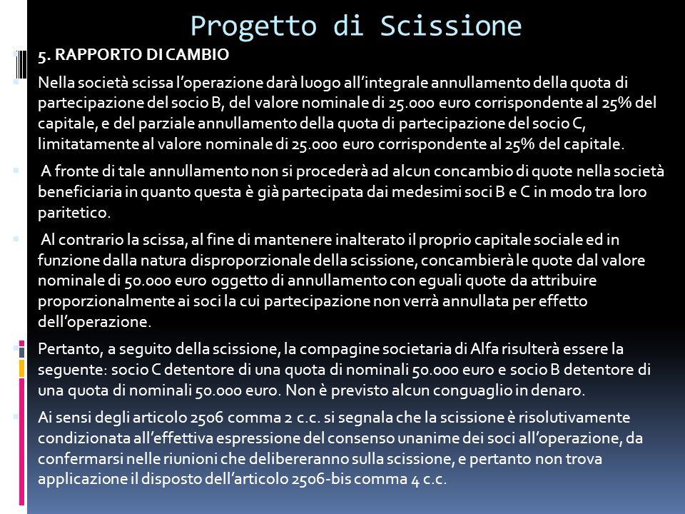 Progetto di Scissione 5.