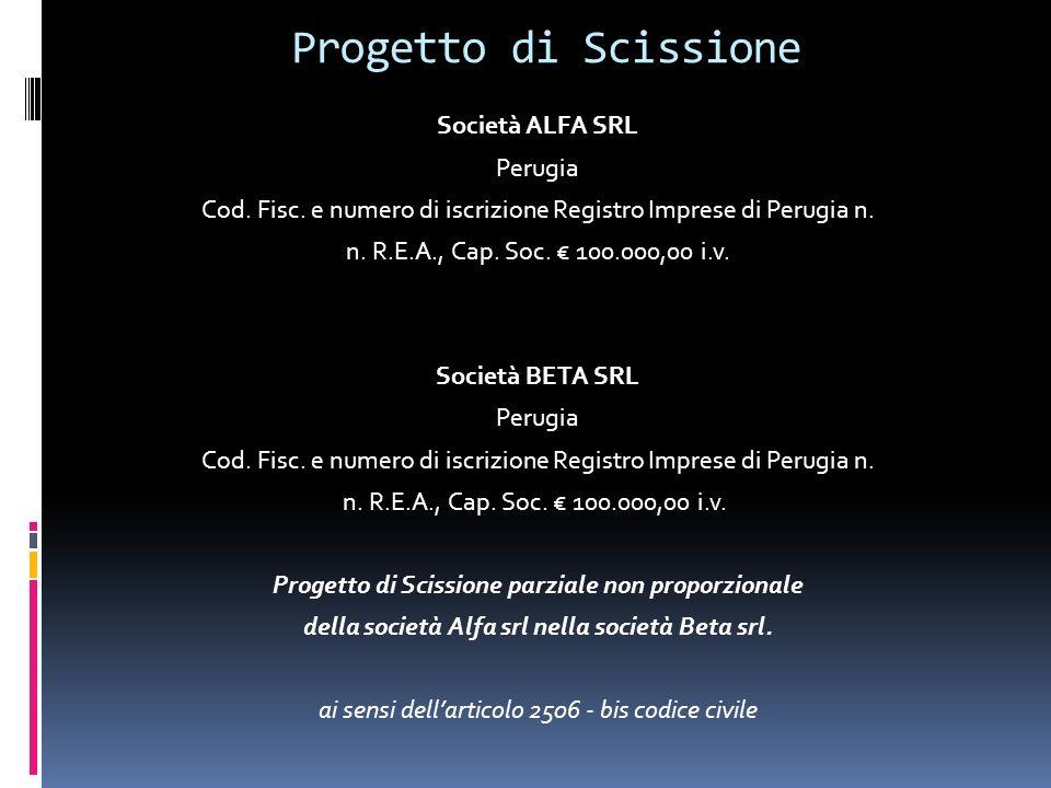 Progetto di Scissione Società ALFA SRL Perugia Cod.