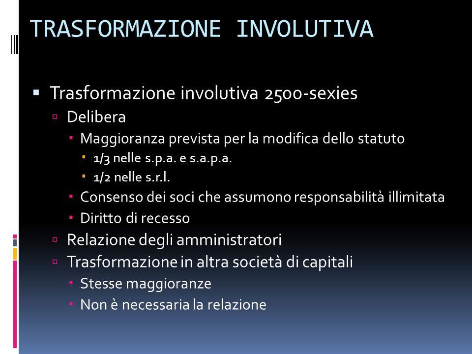 TRASFORMAZIONE INVOLUTIVA Trasformazione involutiva 2500-sexies Delibera Maggioranza prevista per la modifica dello statuto 1/3 nelle s.p.a.