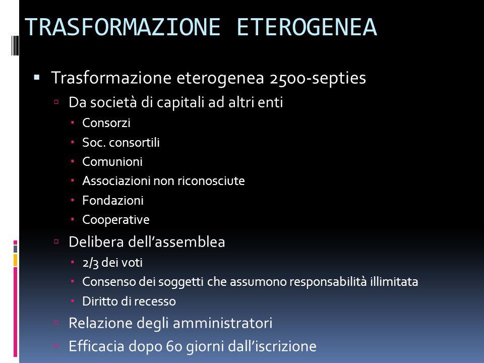 TRASFORMAZIONE ETEROGENEA Trasformazione eterogenea 2500-septies Da società di capitali ad altri enti Consorzi Soc. consortili Comunioni Associazioni