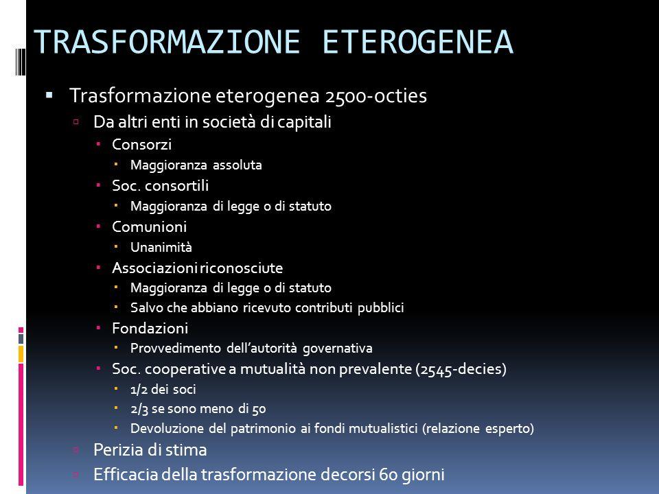 TRASFORMAZIONE ETEROGENEA Trasformazione eterogenea 2500-octies Da altri enti in società di capitali Consorzi Maggioranza assoluta Soc. consortili Mag