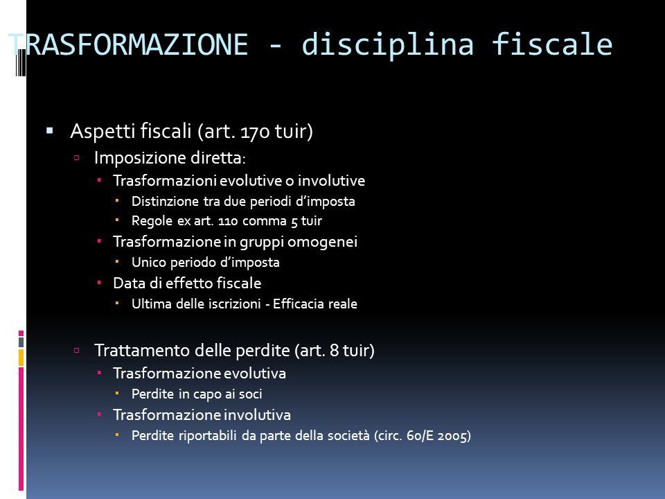 TRASFORMAZIONE - disciplina fiscale Aspetti fiscali (art. 170 tuir) Imposizione diretta: Trasformazioni evolutive o involutive Distinzione tra due per