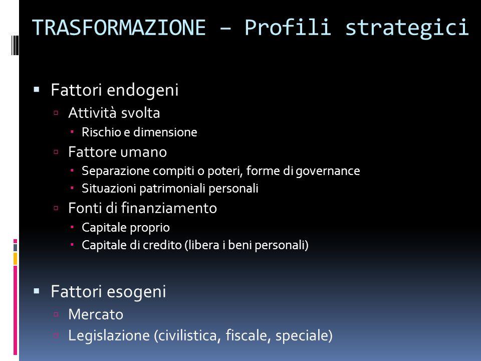 TRASFORMAZIONE – Profili strategici Fattori endogeni Attività svolta Rischio e dimensione Fattore umano Separazione compiti o poteri, forme di governa