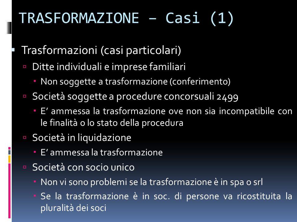TRASFORMAZIONE – Casi (1) Trasformazioni (casi particolari) Ditte individuali e imprese familiari Non soggette a trasformazione (conferimento) Società