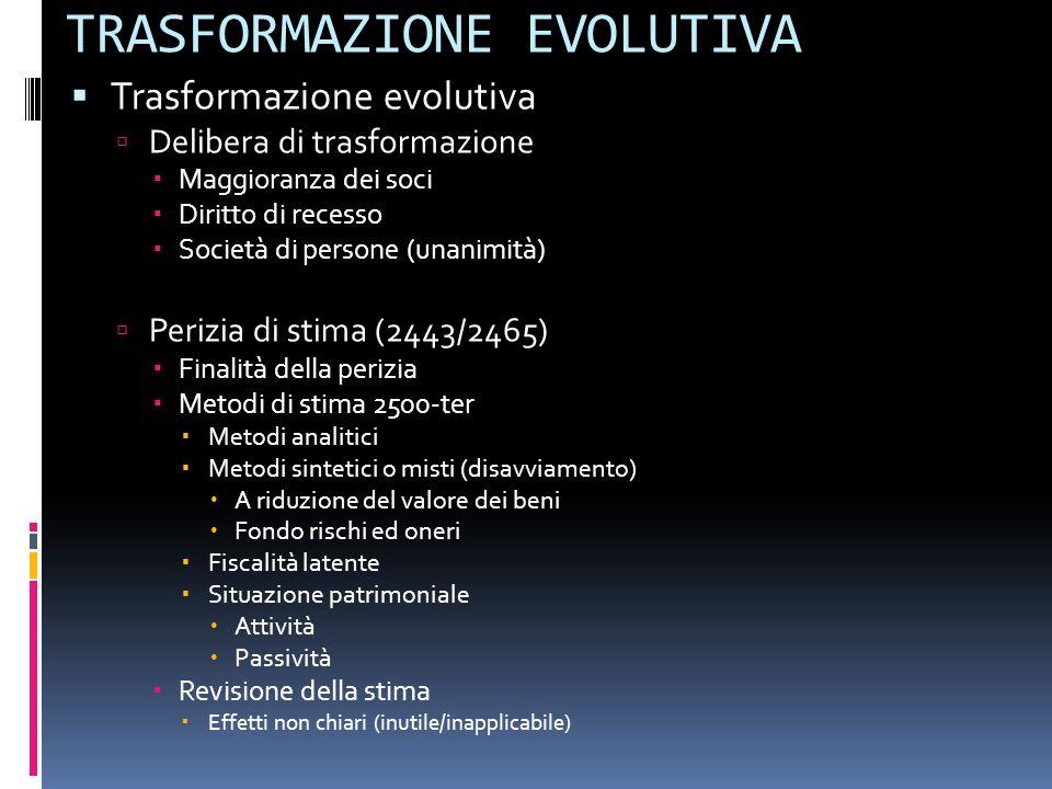 TRASFORMAZIONE EVOLUTIVA Trasformazione evolutiva Delibera di trasformazione Maggioranza dei soci Diritto di recesso Società di persone (unanimità) Pe