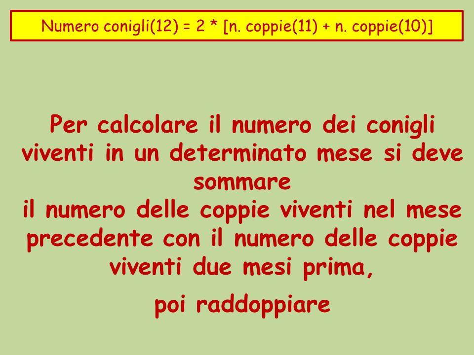 Per calcolare il numero dei conigli viventi in un determinato mese si deve sommare il numero delle coppie viventi nel mese precedente con il numero delle coppie viventi due mesi prima, poi raddoppiare La coppia di conigli vivente allinizio (mese zero) genera una nuova coppia di conigli: nel mese uno il numero delle coppie di conigli sarà 2 N_coppie(0) = 1 N_coppie(1)= 2