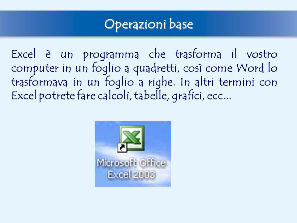 Operazioni base Excel è un programma che trasforma il vostro computer in un foglio a quadretti, così come Word lo trasformava in un foglio a righe. In