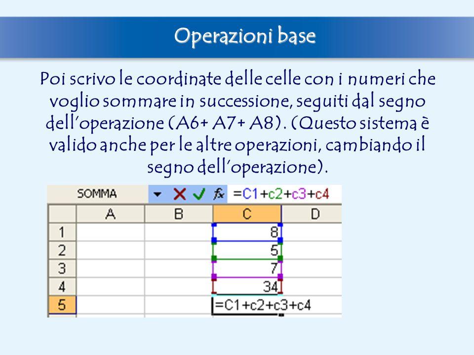 Quando poi digiterò il tasto invio, il programma calcolerà automaticamente la somma, che comparirà nella cella precedentemente selezionata, mentre sulla barra della formule rimarrà la formula che mi ha permesso di arrivare alla soluzione Operazioni base