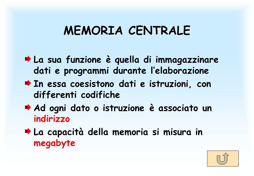 MEMORIA CENTRALE La sua funzione è quella di immagazzinare dati e programmi durante lelaborazione In essa coesistono dati e istruzioni, con differenti