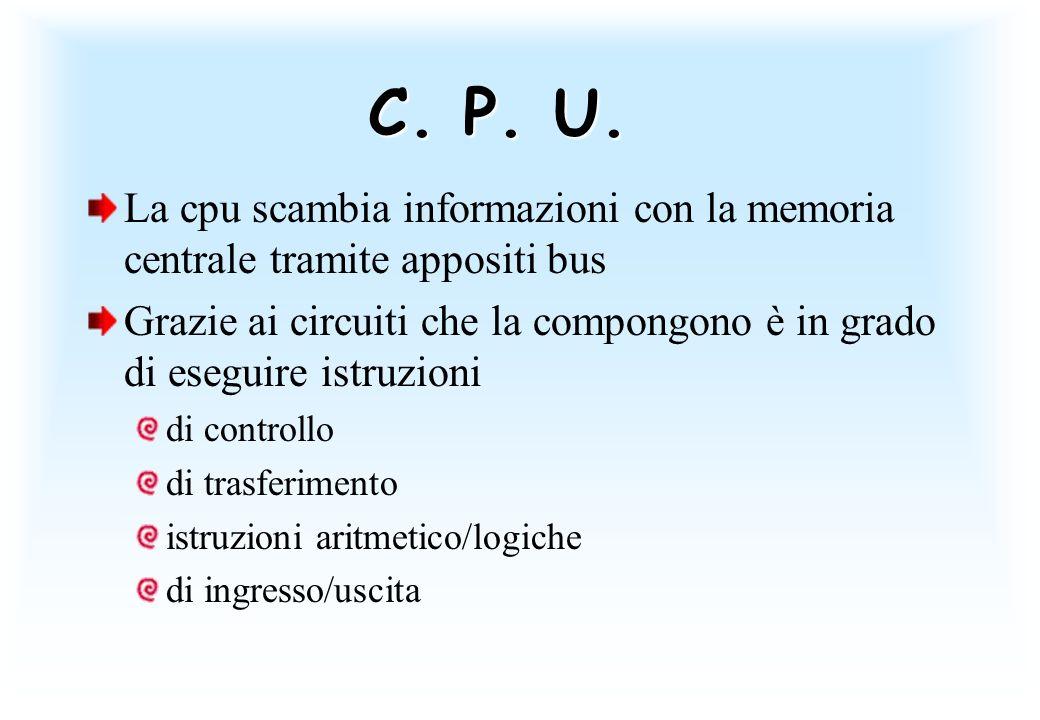 C. P. U. La cpu scambia informazioni con la memoria centrale tramite appositi bus Grazie ai circuiti che la compongono è in grado di eseguire istruzio