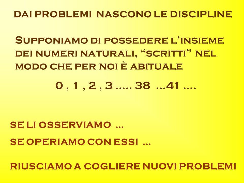 DAI PROBLEMI NASCONO LE DISCIPLINE Supponiamo di possedere linsieme dei numeri naturali, scritti nel modo che per noi è abituale 0, 1, 2, 3 …..