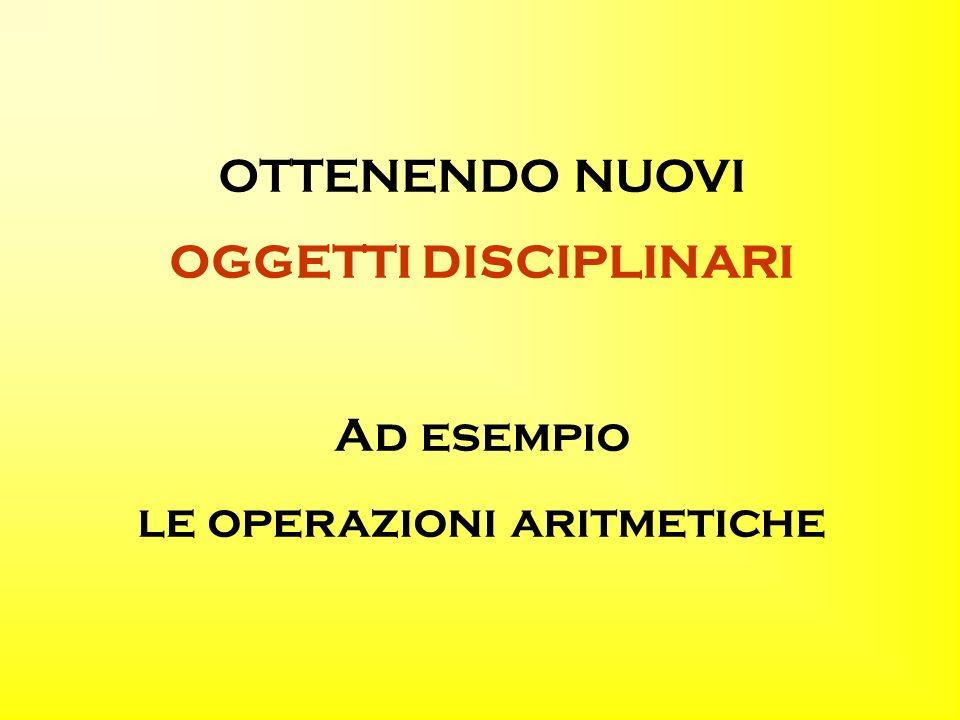 OTTENENDO NUOVI OGGETTI DISCIPLINARI Ad esempio le operazioni aritmetiche