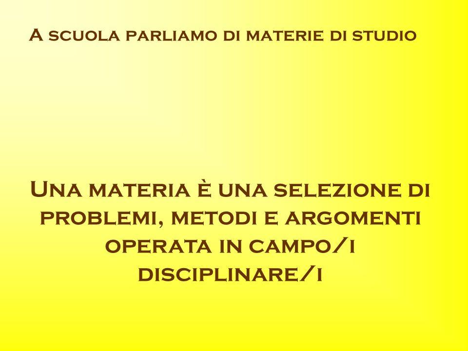 A scuola parliamo di materie di studio Una materia è una selezione di problemi, metodi e argomenti operata in campo/i disciplinare/i