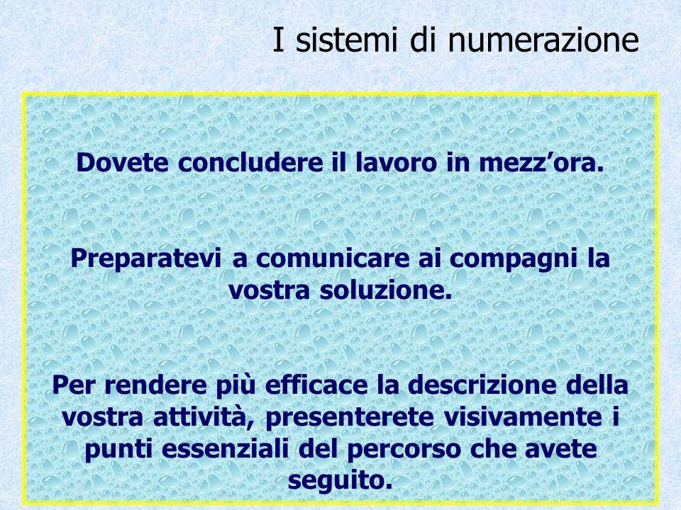 I sistemi di numerazione Dovete concludere il lavoro in mezzora. Preparatevi a comunicare ai compagni la vostra soluzione. Per rendere più efficace la