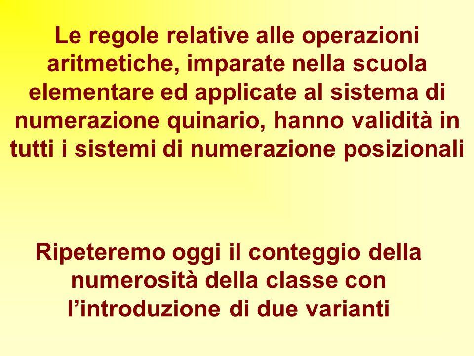 Le regole relative alle operazioni aritmetiche, imparate nella scuola elementare ed applicate al sistema di numerazione quinario, hanno validità in tu