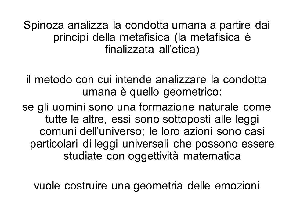 Spinoza analizza la condotta umana a partire dai principi della metafisica (la metafisica è finalizzata alletica) il metodo con cui intende analizzare