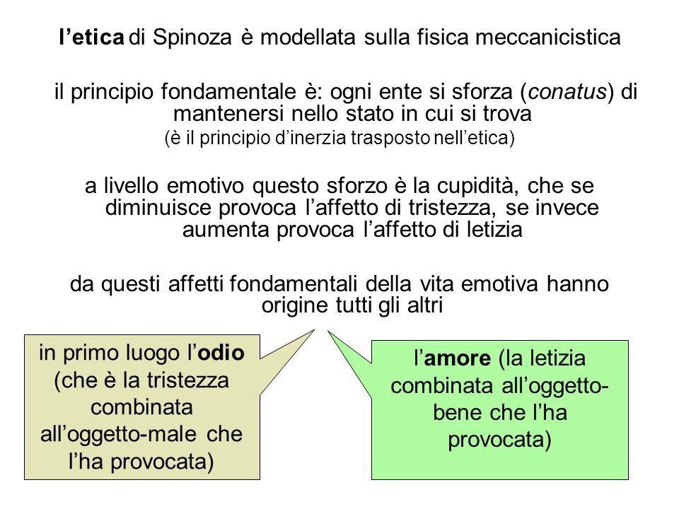letica di Spinoza è modellata sulla fisica meccanicistica il principio fondamentale è: ogni ente si sforza (conatus) di mantenersi nello stato in cui