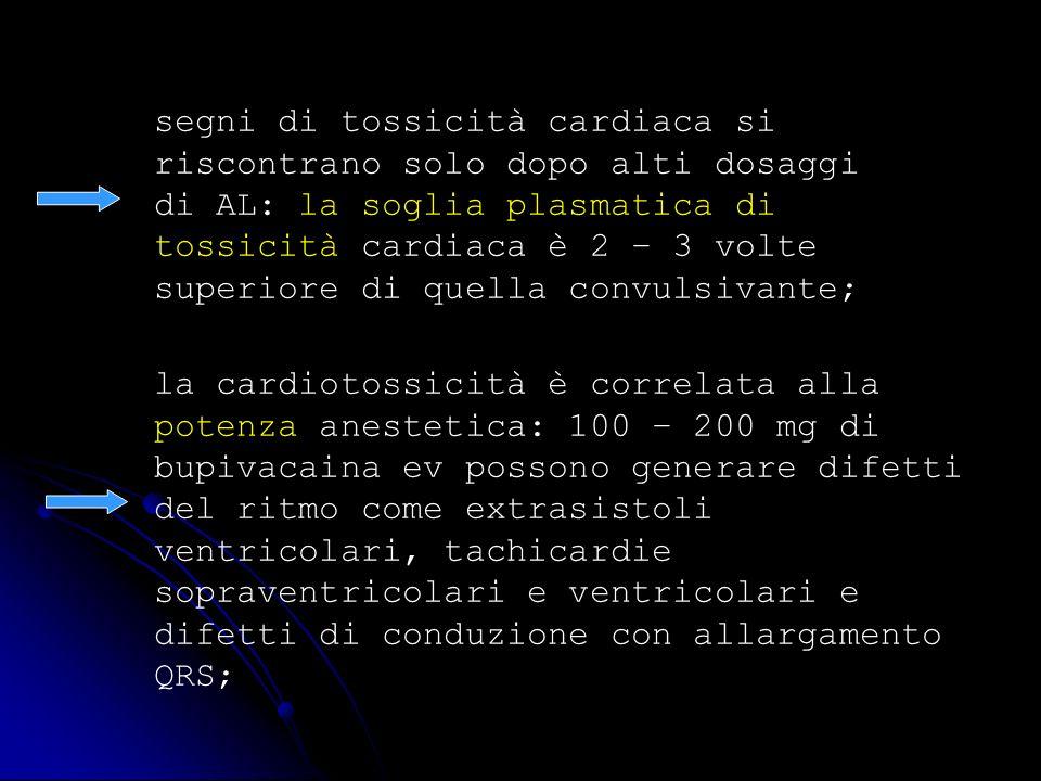 segni di tossicità cardiaca si riscontrano solo dopo alti dosaggi di AL: la soglia plasmatica di tossicità cardiaca è 2 – 3 volte superiore di quella