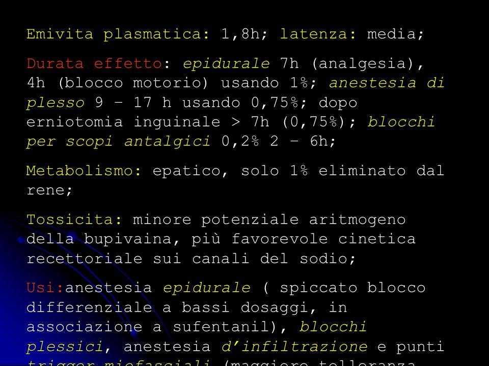 Emivita plasmatica: 1,8h; latenza: media; Durata effetto: epidurale 7h (analgesia), 4h (blocco motorio) usando 1%; anestesia di plesso 9 – 17 h usando