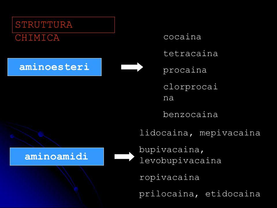 STRUTTURA CHIMICA aminoesteri aminoamidi cocaina tetracaina procaina clorprocai na benzocaina lidocaina, mepivacaina bupivacaina, levobupivacaina ropi