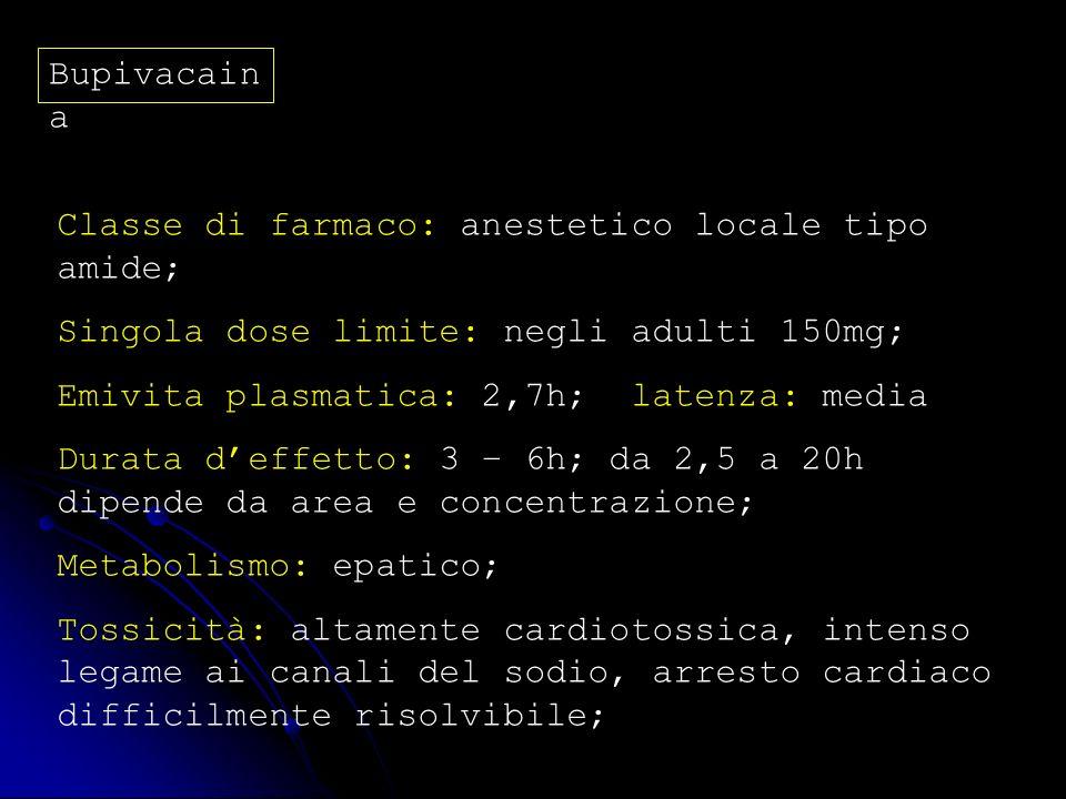 Bupivacain a Classe di farmaco: anestetico locale tipo amide; Singola dose limite: negli adulti 150mg; Emivita plasmatica: 2,7h; latenza: media Durata