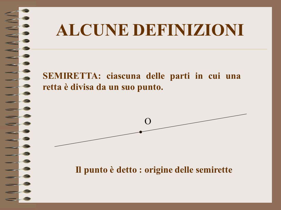 ALCUNE DEFINIZIONI SEMIRETTA: ciascuna delle parti in cui una retta è divisa da un suo punto. Il punto è detto : origine delle semirette O