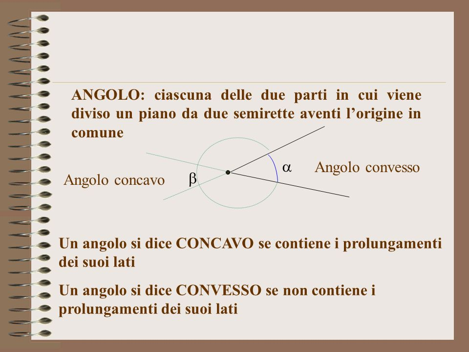 ANGOLO: ciascuna delle due parti in cui viene diviso un piano da due semirette aventi lorigine in comune Angolo convesso Angolo concavo Un angolo si d