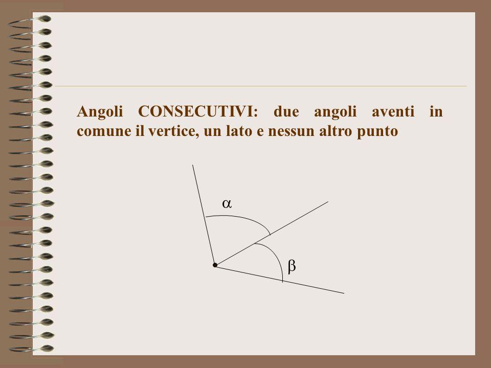 Angoli CONSECUTIVI: due angoli aventi in comune il vertice, un lato e nessun altro punto