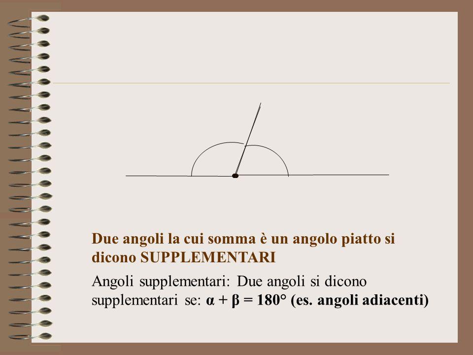 Due angoli la cui somma è un angolo piatto si dicono SUPPLEMENTARI Angoli supplementari: Due angoli si dicono supplementari se: α + β = 180° (es. ango