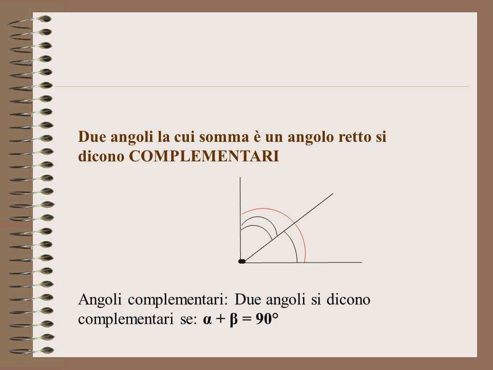 Due angoli la cui somma è un angolo retto si dicono COMPLEMENTARI Angoli complementari: Due angoli si dicono complementari se: α + β = 90°