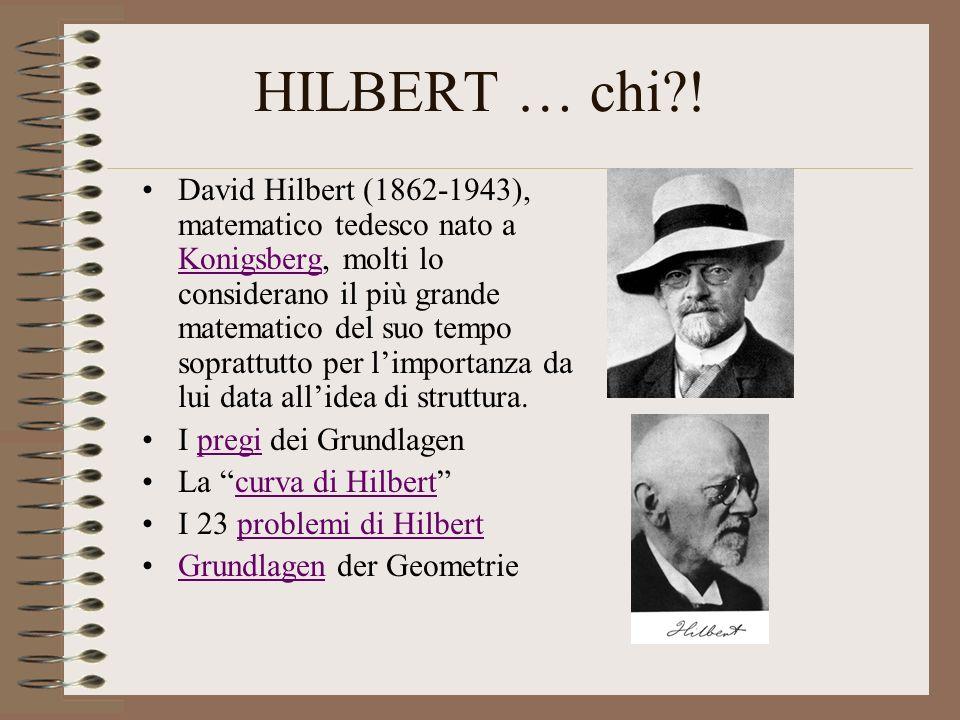 HILBERT … chi?! David Hilbert (1862-1943), matematico tedesco nato a Konigsberg, molti lo considerano il più grande matematico del suo tempo soprattut