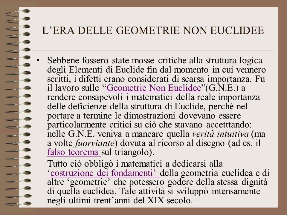 LERA DELLE GEOMETRIE NON EUCLIDEE Sebbene fossero state mosse critiche alla struttura logica degli Elementi di Euclide fin dal momento in cui vennero