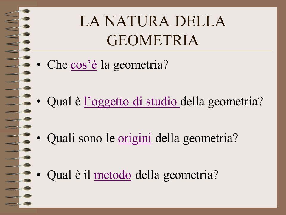 LA NATURA DELLA GEOMETRIA Che cosè la geometria?cosè Qual è loggetto di studio della geometria?loggetto di studio Quali sono le origini della geometri