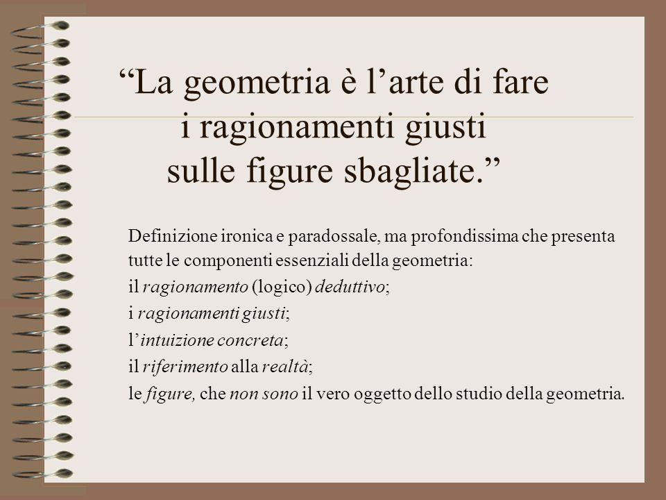 La geometria è larte di fare i ragionamenti giusti sulle figure sbagliate. Definizione ironica e paradossale, ma profondissima che presenta tutte le c