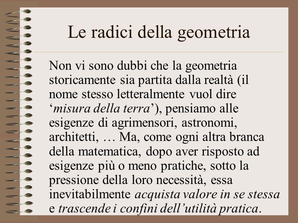 Le radici della geometria Non vi sono dubbi che la geometria storicamente sia partita dalla realtà (il nome stesso letteralmente vuol diremisura della