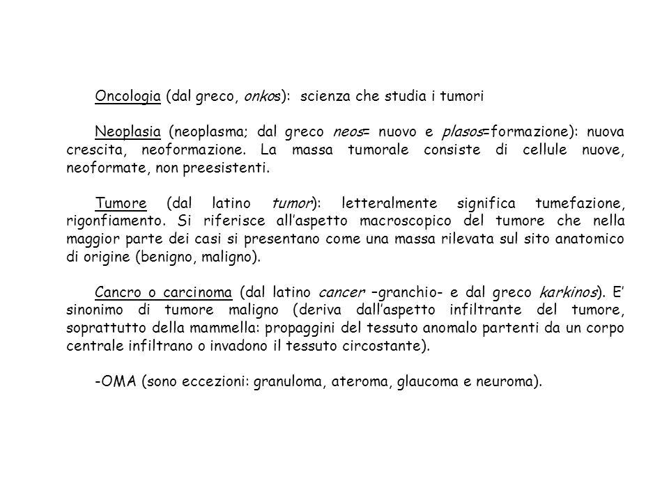 Oncologia (dal greco, onkos): scienza che studia i tumori Neoplasia (neoplasma; dal greco neos= nuovo e plasos=formazione): nuova crescita, neoformazi